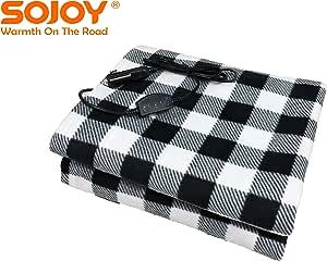 SOJOY 電気毛布 12V車用 防寒保温 防臭 暖かい 電気ブランケット HI/OFF/LO 2段階切り替え (黑+白)
