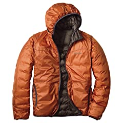 EB900 Fill Power Plus Reversible Down Hooded Jacket 019241: Fossil / Dark Orange