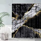 FULLSAIL Black and White Marble Texture Shower Curtain Set Gold Abstract Art Pattern Bathroom Bathtubs Decor with 12 Hooks Ea