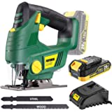 Cordless Jigsaw, POPOMAN 20V Jig Saw with LED Light, 2,000mAh Battery, 1H Fast Charger, 0-2,200SPM Adjustable Speed, -45°~ 45