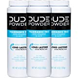 DUDE Body Powder, Fragrance Free 4 Ounce (3 Bottle Pack) Natural Deodorizers With Chamomile & Aloe, Talc Free Formula, Corn-S