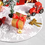 COOWOO Christmas Tree Skirt 36 Inch Double Layers Jacquard Cashmere Snow Flake Xmas Holiday Decoration Ornament