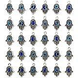 30PCS Antique Silver Hamsa Hand Evil Eye Bead of Fatima Symbol Charms - JIALEEY Hamsa Hand Beads Frame Charms for Jewelry Mak