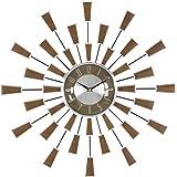 "Deco 79 98433 Metal Wall Clock, 22"", Brown/Silver/Black"