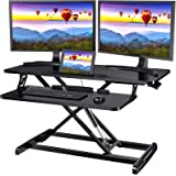 Quick Sit to Stand Desktop Gas Spring Riser (Max Height:19.3inch), 33 inch Height Adjustable Standing Desk Converter for Dual