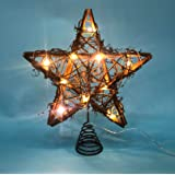 LAWOHO Christmas Tree Topper Star Rattan Natural Star Treetop 10 inch Christmas Tree and Holiday Seasonal Decoration Fit for