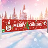 MAIAGO Merry Christmas Banner - Extra Large 10.2 ft x 1.8 ft - Outdoor Red Christmas Banner Decorations - Xmas Indoor & Outdo