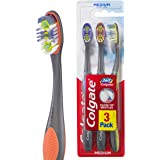 Colgate 360° Floss Tip Manual Toothbrush, Value 3 Pack, Medium Bristles