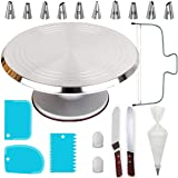 50 PCs Aluminum Cake Turntable Rotating Stand- Professional Cake Decorating Tools Kit with Straight & Offset Spatula- 7 Icing