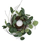 CVHOMEDECO. Rustic Country Artificial Eucalyptus Leaves and Twig Wreath, Year Round Full Green Wreath for Indoor or Outdoor D