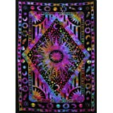 THE ART BOX Tapestry Hippie Star Wall Tapestry Sun and Moon Tapestries Wall Hanging Twin Size Tapestries Cotton Wall Blanket