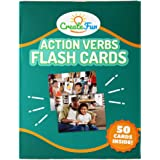 Action Verbs Flash Cards - 50 Motion Language Builder Educational Photo Cards - with 6 Starter Teaching Activities for Parent