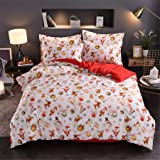 A Nice Night Christmas Deer Santa Claus Gifts Small Bells Printed Bedding Sets Quilt Cover Set No Comforter (Christmas-Style