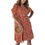Jenkoon Women's Short Sleeve Ruffle Polka Dot Summer Loose Swing Tunic Midi Dresses