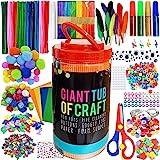 MOISO Mega Kids Crafts and Art Supplies Jar Kit - 550+ Piece Set - Make Bracelets and Necklaces - Plus Glitter Glue, Construc