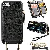 iPhone SE2ケース用【第2世代】iphone7対応ケース ZVE® iphone 8用 ケース カード収納 財布型 お札入れ スタンド機能 斜め掛けチェーン&ストラップ付き カード入れ 背面財布型カバー レザーケース アイフォン7/アイフォン