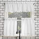 """No. 918 Mariela Floral Trim Semi-Sheer Rod Pocket Kitchen Curtain Valance and Tiers Set, 58"""" x 24"""", White"""
