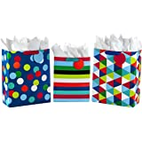 """Hallmark 13"""" Large and 15"""" Extra Large Gift Bags Assortment with Tissue Paper (Pack of 3: Celebrate, Rainbow Stripes, Polka D"""