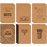 Kraft Notebook - 12-Pack Lined Notebook Journals, Pocket Journal for Travelers, Diary, Notes - 6 Different Funny Motivational