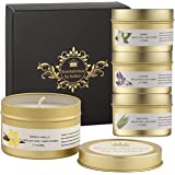 Scentalicious Scented Candles Gift Set, Pure Soy Wax & Essential Oils - Jasmine, Lavender, Eucalyptus, French Vanilla - Aroma