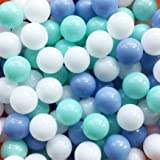 MoonxHome Ball Pit Balls Crush Proof Plastic Children's Toy Balls Macaron Ocean Balls 2.15 Inch Pack of 200 White&Blue&Green