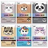 Epielle Character Masks (Assorted-6pk) 1-Llama, 1-Mermaid, 1-Panda, 1-Cheetah, 1-Unicorn, 1-Otter