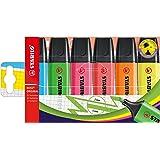 STABILO Refillable Stabilo Boss 70/6 Assorted Original Highlighter Wallet, Multicoloured, 6 (0072590)