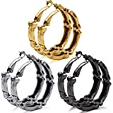 Halloween Gothic Skull Skeleton Hoop Earrings Set for Women Girls, Vintage Silver Gold Black Earrings Jewelry Set