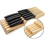 Kitchen Precision Knife Block Drawer Organiser - Holds 11 Knives - Large and Small - Hevea Hardwood Knife Holder Divider for