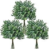 "Winlyn 33 Pcs Artificial Grey Green Eucalyptus Leaves Stems 14.6"" Tall Bulk Wedding Bouquet Greenery Rustic Holiday Greens fo"