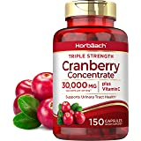 Horbaach Cranberry (30,000 mg) + Vitamin C 150 Capsules | Triple Strength Ultimate Potency | Non-GMO, Gluten Free Cranberry P