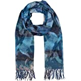 Accessories First Watercolor Floral Scarf - Fashionable Womens Acrylic Woven Scarf with Twisted Fringes