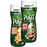 Sprout Organic Quinoa Puffs Baby Snacks, Variety Pack, 1.5 Ounce Canister (Pack of 6) 3 of Each: Carrot Mango & Apple Kale