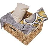 "StorageWorks Jumbo Rectangular Wicker Basket, Water Hyacinth Storage Basket with Built-in Handles, 16.3"" x 13"" x 7.5"""