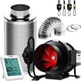 VIVOSUN 6 Inch 390 CFM Inline Fan with Speed Controller, 6 Inch Carbon Filter and 8 Feet of Ducting, Temperature Humidity Mon