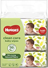 Huggies Clean Care Baby Wipes; 80 count (Pack of 3)