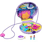 Polly Pocket Tiny Power Seashell Purse Compact with Wearable Strap, Fun Under-The-Sea Features, Micro Polly and Lila Mermaid