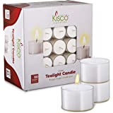 Kisco Genuine Tea Light Candles in Clear Holder Cups Bulk 100 Set. Long Burning 8hr, Unscented, for Mood, Dinners, Parities,