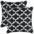 Pack of 2 CaliTime Soft Canvas Throw Pillow Covers Cases for Couch Sofa Home Decor Modern Quatrefoil Accent Geometric 18 X 18