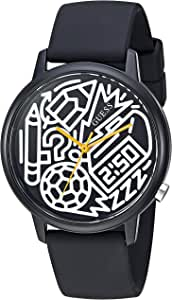 GUESS 'Time to Give' V0023M8、クォーツステンレススチールとシリコン製腕時計、色: ブラック