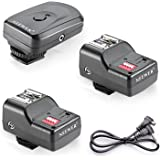 Neewer 16 Channel Wireless Flash Trigger Set: 1 Transmitter + 3 Receivers + 1 Sync Wire Cable for Canon, Nikon, Pentax, Sigma