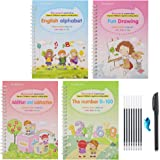 English Magic Practice Copybook, Magic Calligraphy That Can Be Reused Handwriting Copybook Tracing Book Set for Kid Calligrap