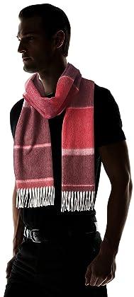 Wool Angora Stripe Scarf 118-35-0192: Wine Red