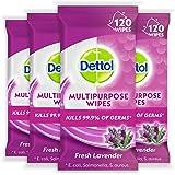Dettol Multi Purpose Antibacterial Surface Cleaning Wipes Lavender Bundle 480 (4 x 120 pack), Lavendar 480 count