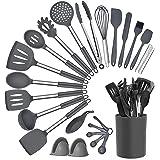 Fiyobo 20 PCS Silicone Cooking Utensil Set,Kitchen Utensils 20 pcs Cooking Utensils Set,BPA Free, Non Toxic, Grey