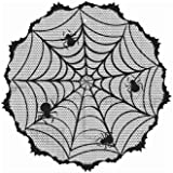JunMu 40'' Round Halloween Tablecloth, Black Lace Spider Web Tablecloth for Halloween Table Decoration,Parties Scary Movie Ni