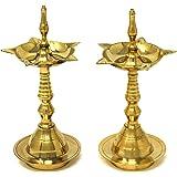 Hashcart Kerela Traditional Brass Oil Lamp - Brass Puja Oil Diya Lamp Engraved Design Deepak Pooja Article - Set of 2