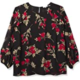 Calvin Klein Women's Printed Long Sleeve TOP with Ruffle Detail, BK/CAM/RED