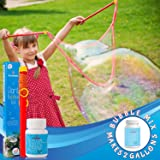 Atlasonix Giant Bubble Wands Kit | Incl. Wand, Natural Giant Bubble Solution for Making 2 Gallons, and Tips & Trick Booklet |