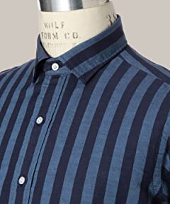 Cotton Linen Gingham Wide Spread Collar Shirt 1111-176-0635: Navy